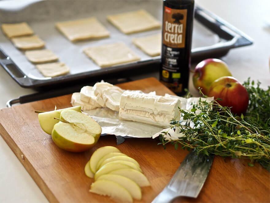 Vuohenjuusto-omenalehikäisten raaka-aineet ja Terra Creta -oliiviöljy